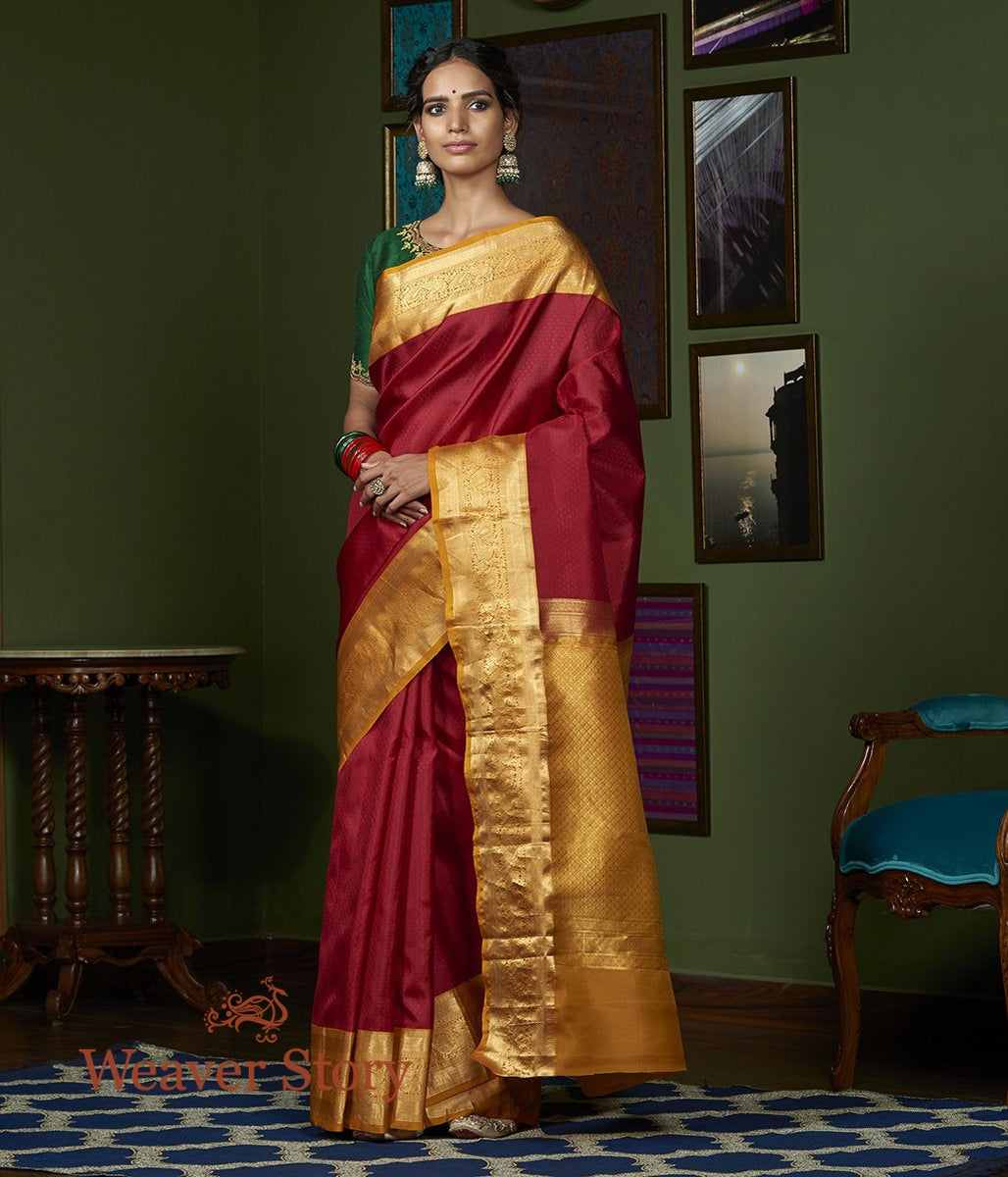 Handwoven Maroon Kanjivaram Saree with Mustard Annapakshi Border