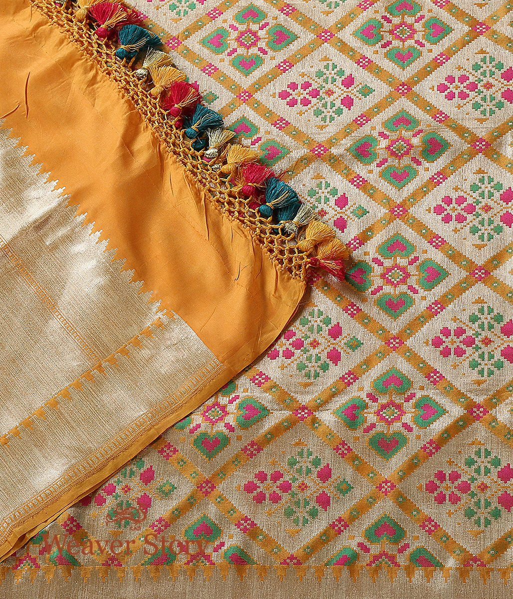 Handwoven Yellow and Gold Banarasi Patola Dupatta with Zari Base