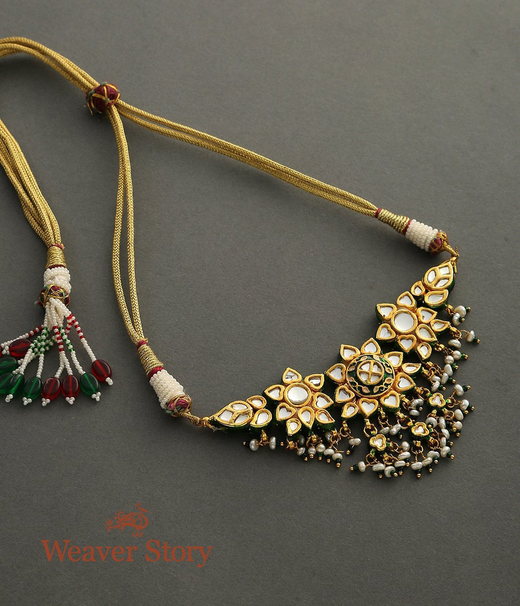 Golden Kundan Choker Sets with Green Enamelling and Pearls