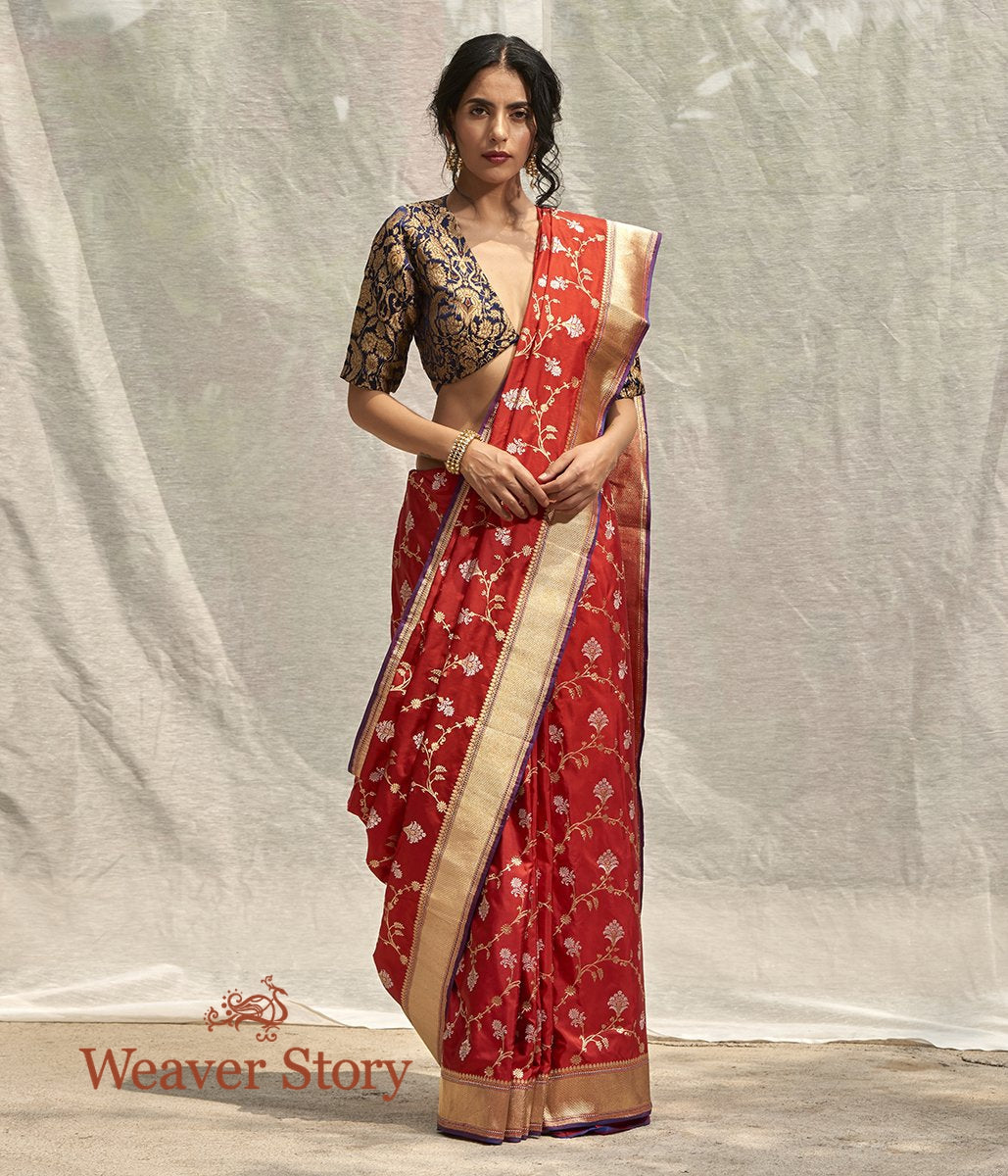 Handwoven Red Kadhwa Jangla Saree
