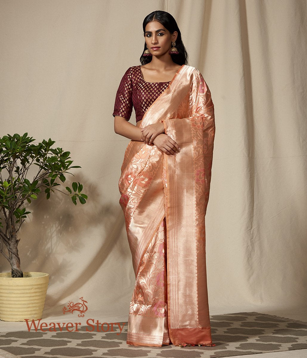 Handwoven Peach Floral Zari Jaal Saree with Meenakari