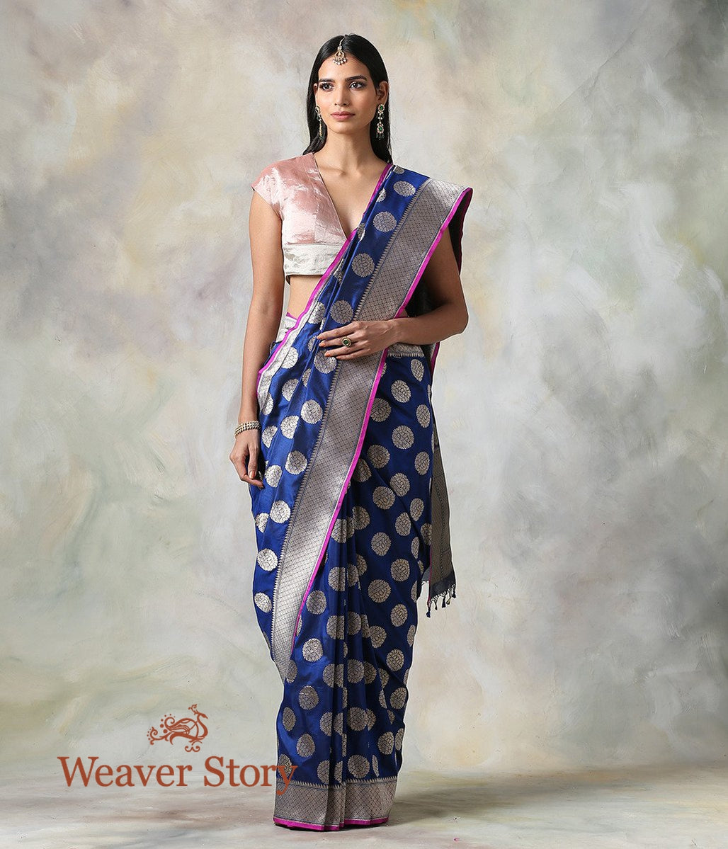 Handwoven Blue Cutwork Booti Saree with Pink Selvedge