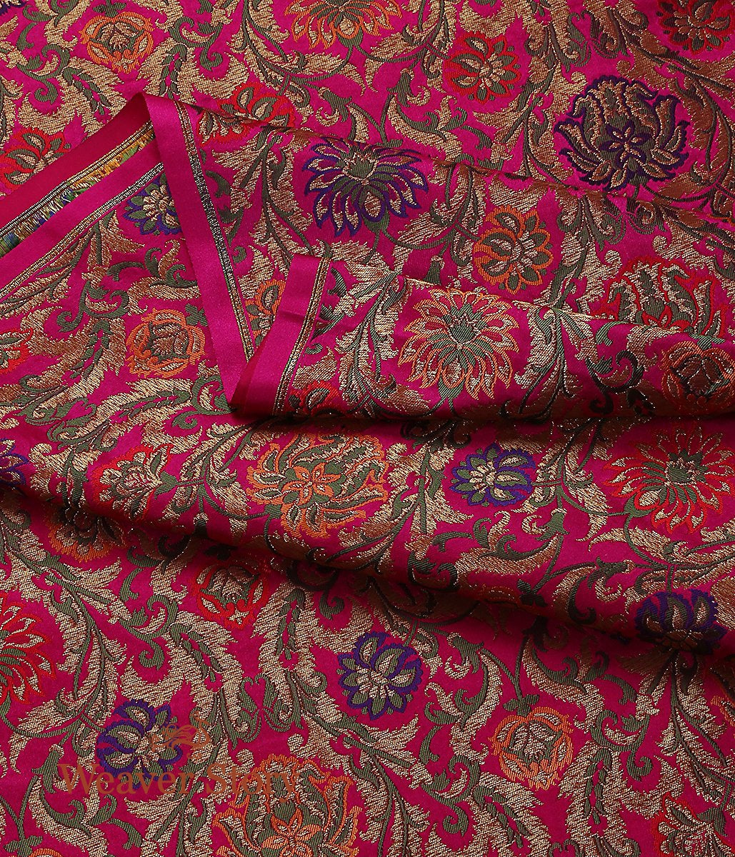 Handwoven Pink Kimkhab with Meenakari Fabric