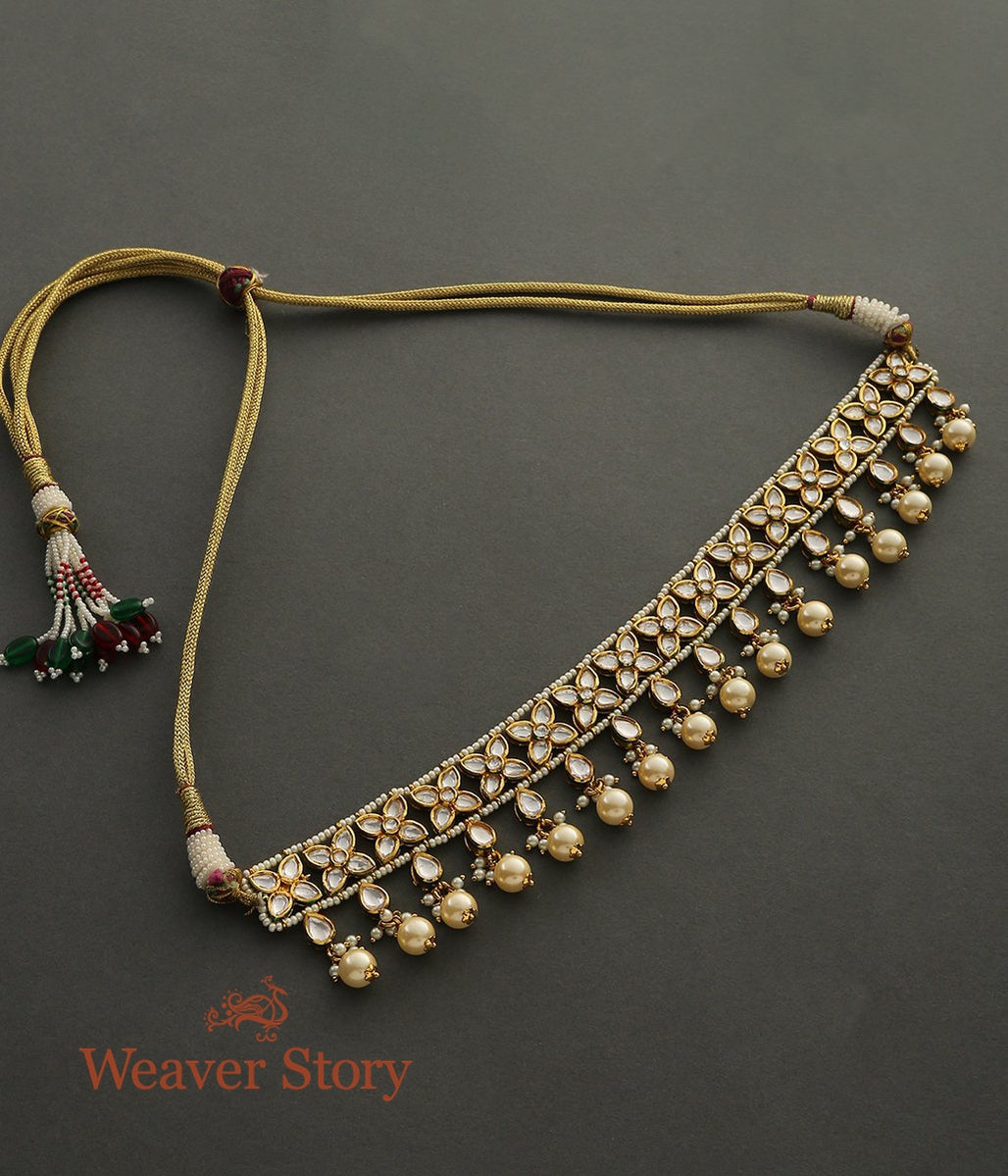 Golden Kundan Choker Necklace with Kundan and Pearl Drops