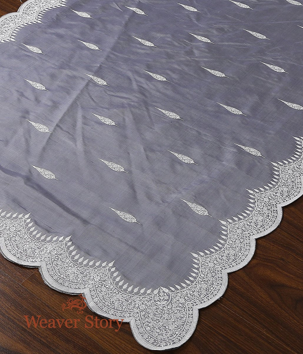 Handwoven Grey Banarasi Dupatta with Scalloped Borders