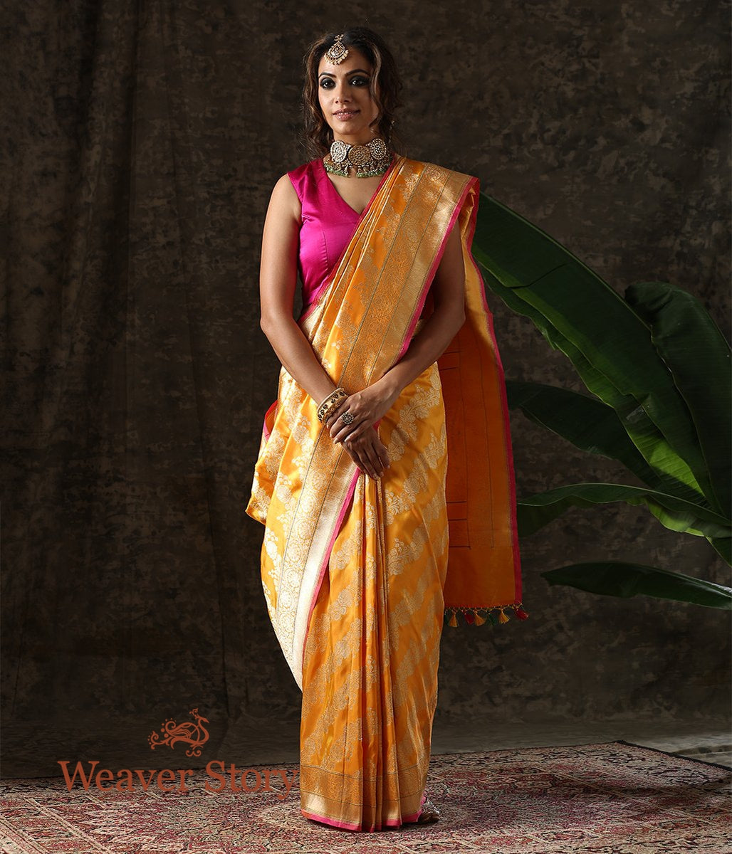 Handwoven Golden Yellow Kadhwa Jangla Saree