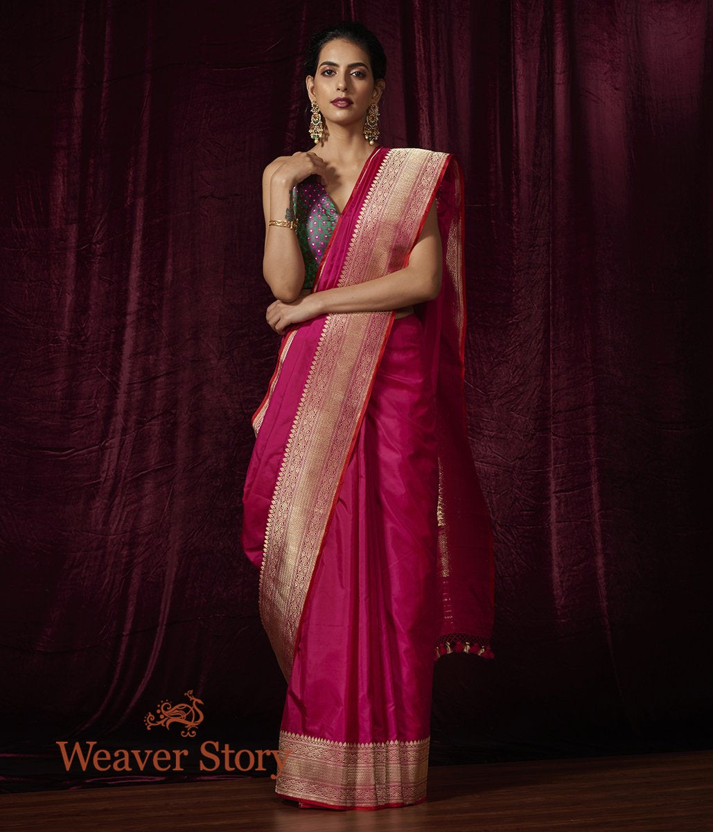 Handwoven Pink Plain Katan Saree with Heavy Border