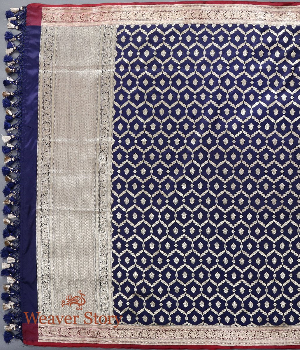 Handwoven Blue Katan Silk Cutwork Jangla Dupatta with Red Border