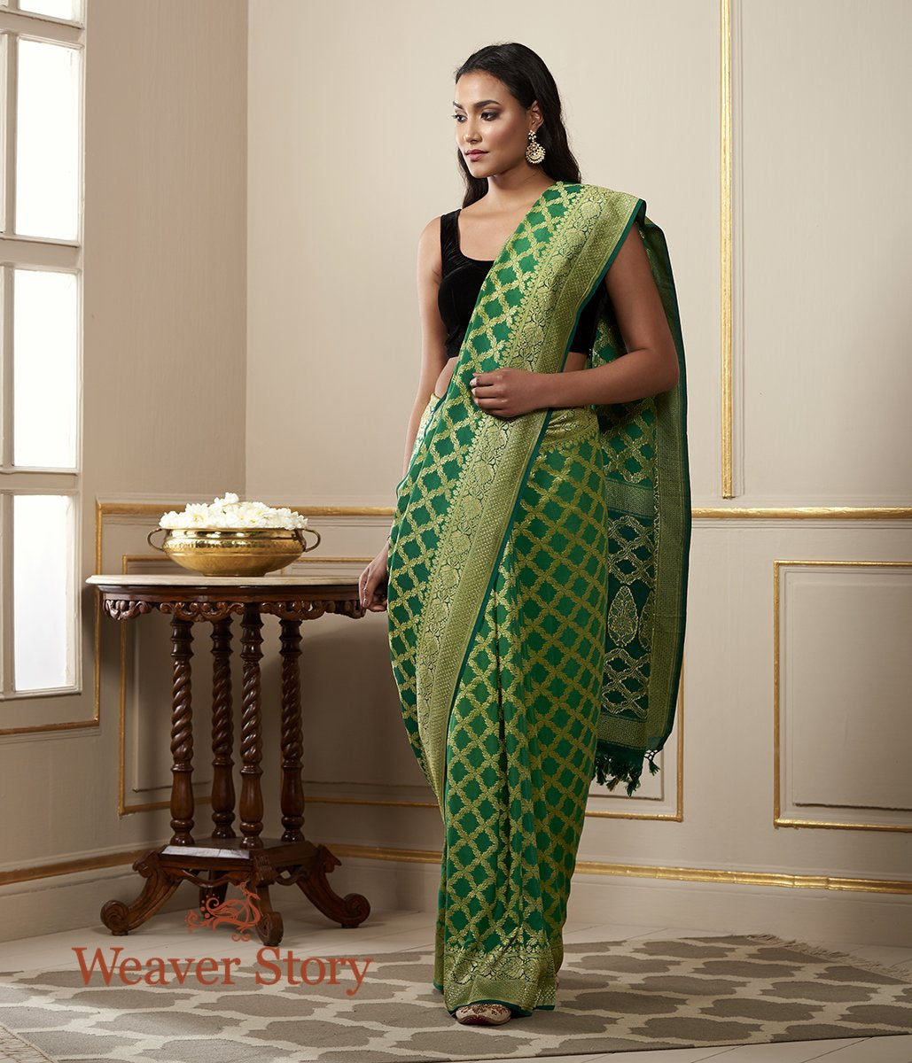 Handwoven Banarasi Georgette Saree in Emerald Green