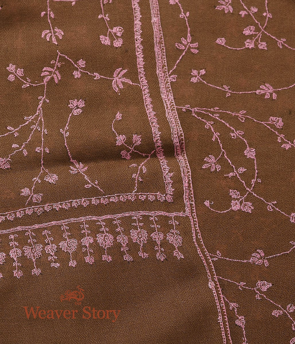 Brown Pashmina Stole with Pink Floral Jaal