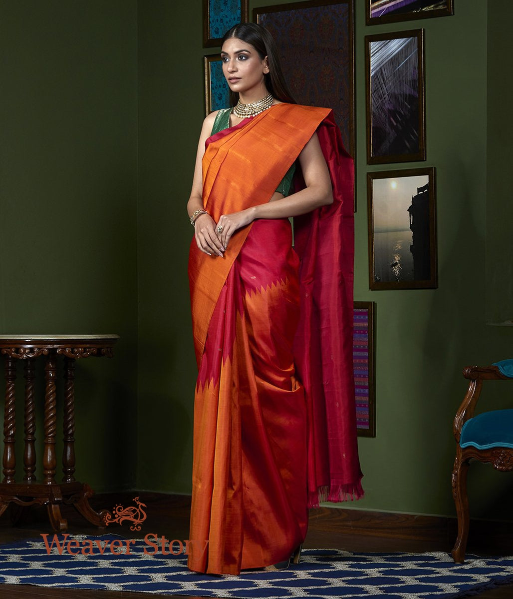 Handwoven Orange Twill Weave Kanjivaram Saree with Rising Temple Borders