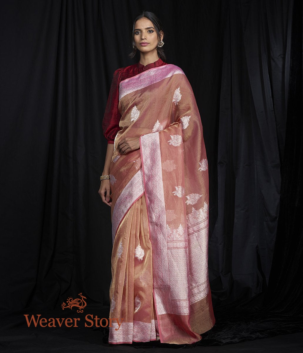 Handwoven Peach Pink Tissue Saree with Kadhwa Boota