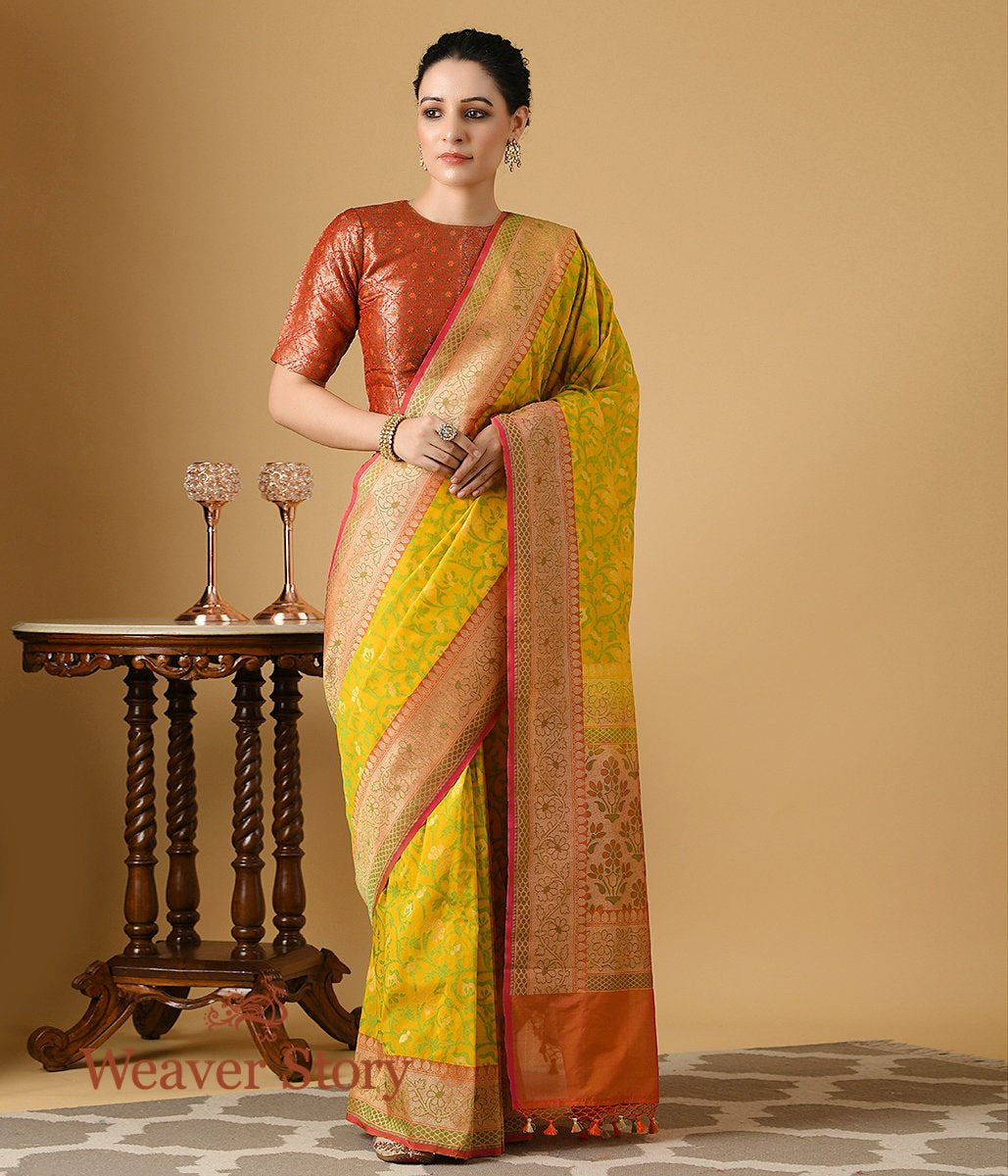 Handwoven Summer Silk Banarasi Saree in Yellow and Orange