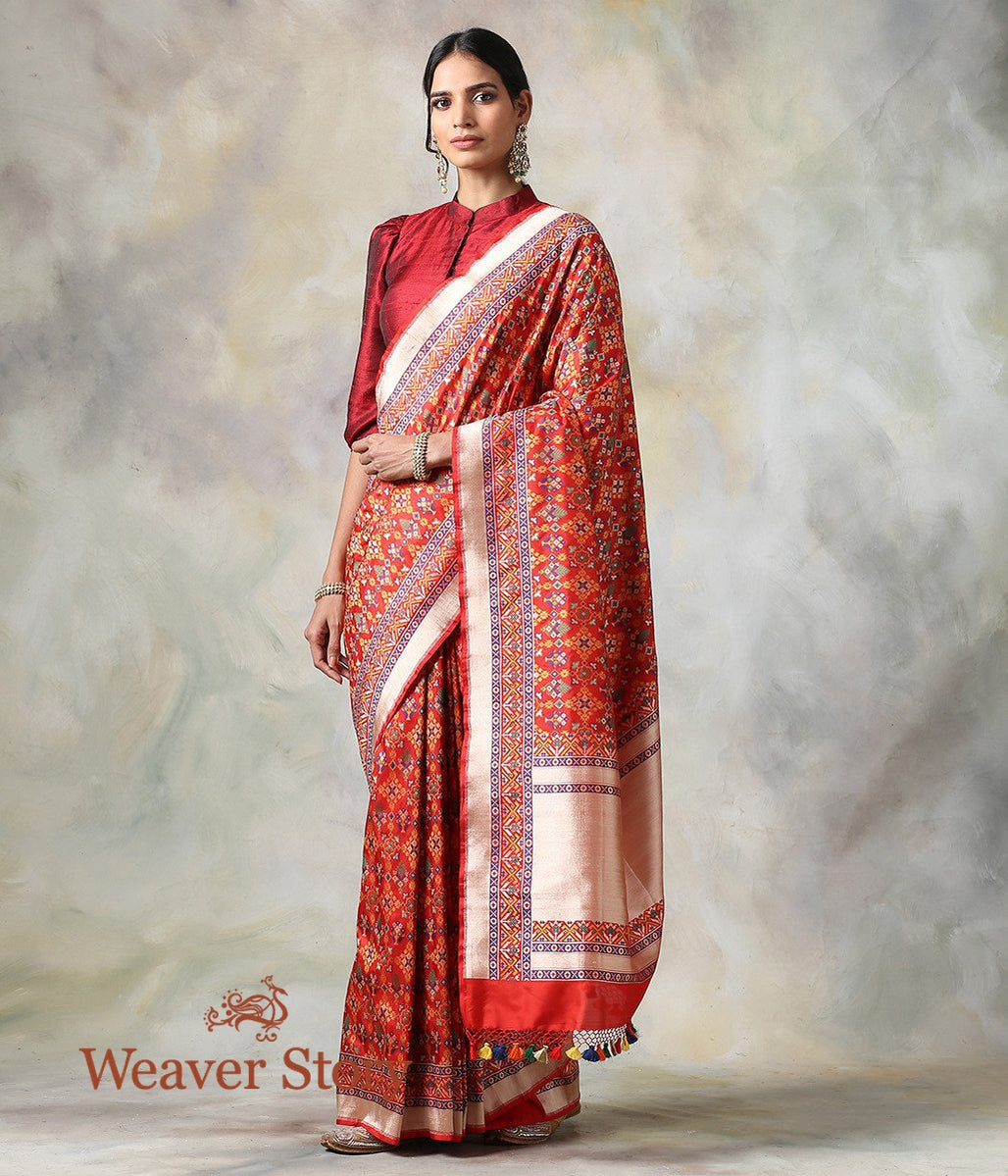Handwoven Red Meenakari Patola Saree with a Hint of Blue