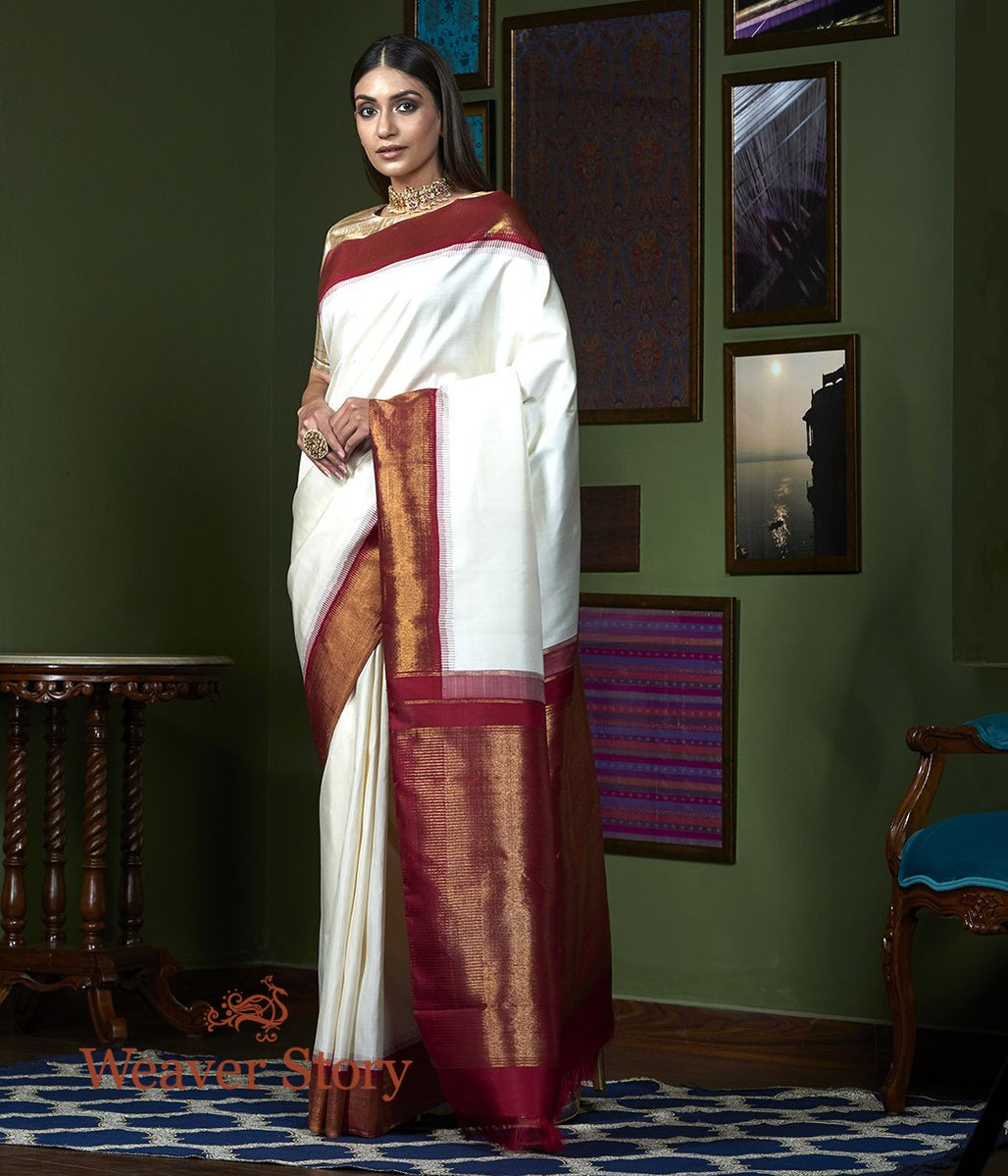 Handwoven Offwhite Plain Kanjivaram Saree with Maroon Pure Zari Border