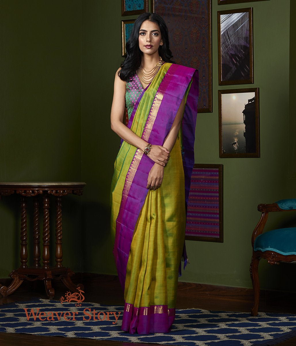 Handwoven Green Kanjivaram Silk Saree with Purple Border