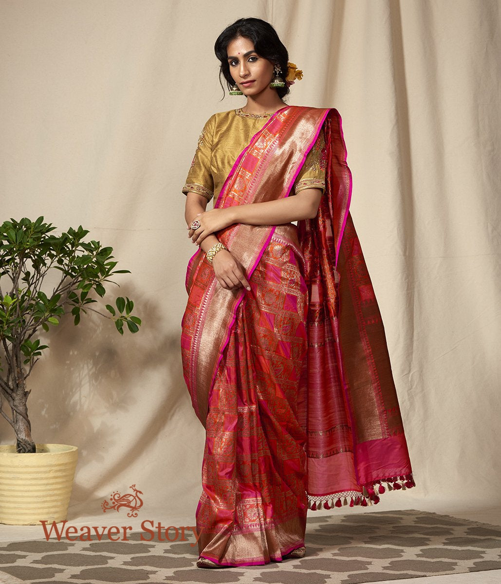 Handwoven Pink and Orange Antique Zari Checks Banarasi Patola Saree