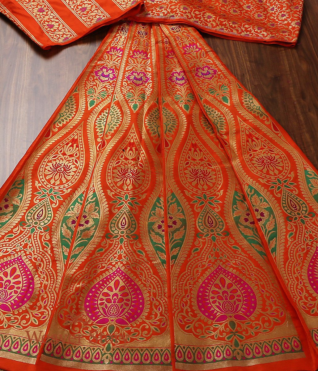 Handwoven Orange Banarasi Kalidar Lehenga with Meenakari