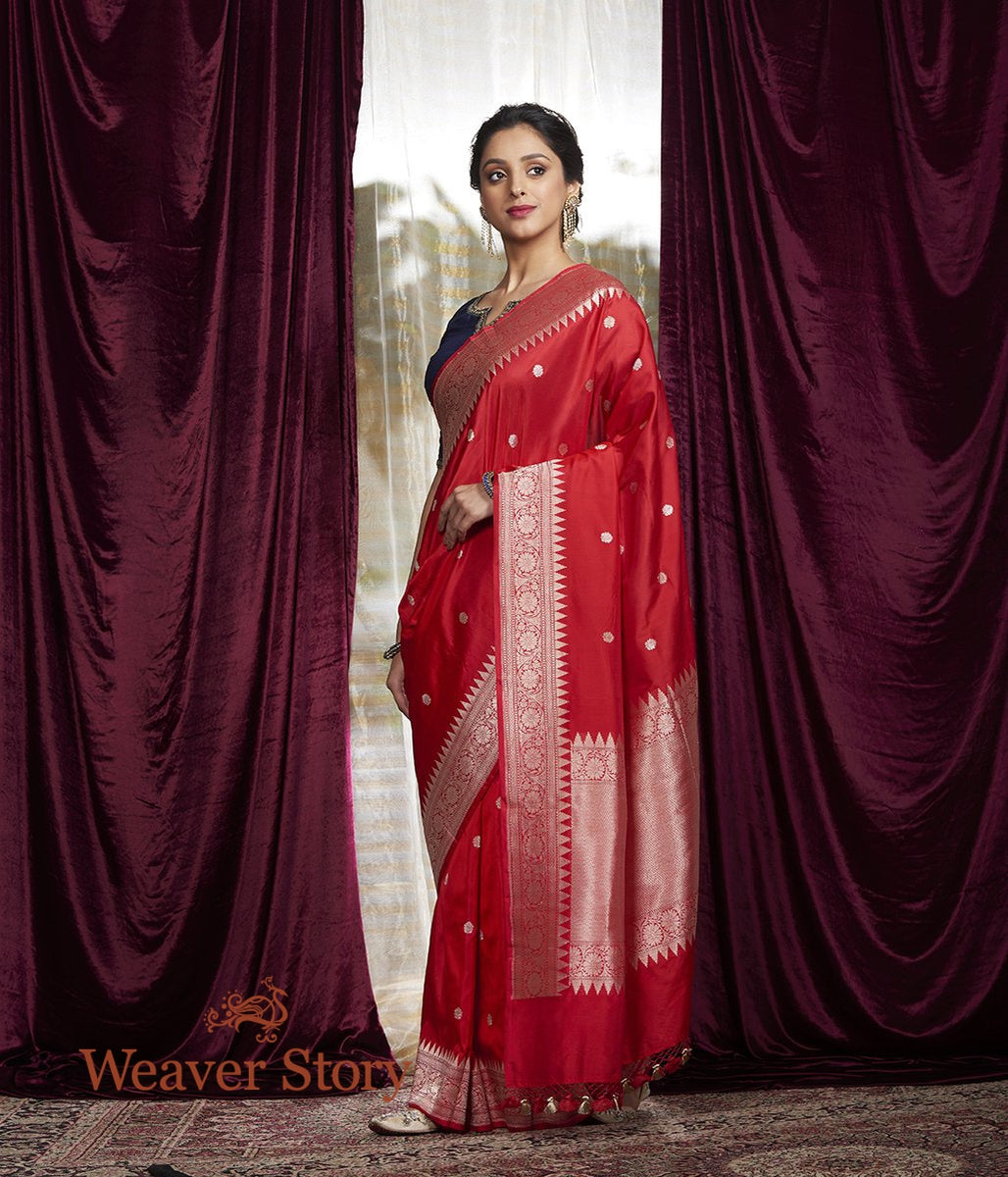 Handwoven Red Kadhwa Booti Saree with Zari Temple Border