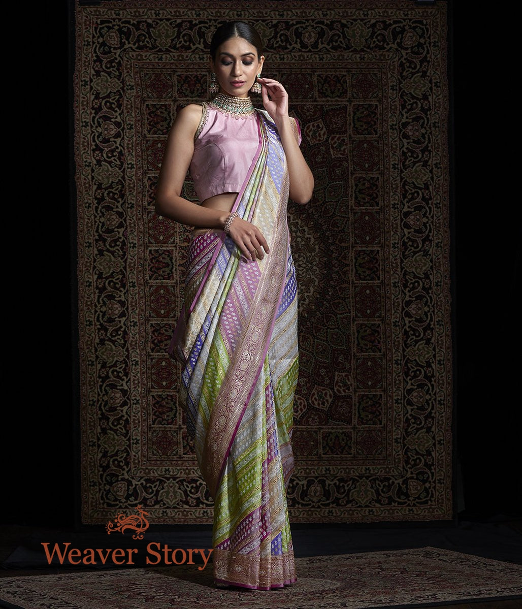 Handwoven Real Zari Rangkaat Saree with Diagonal Weave