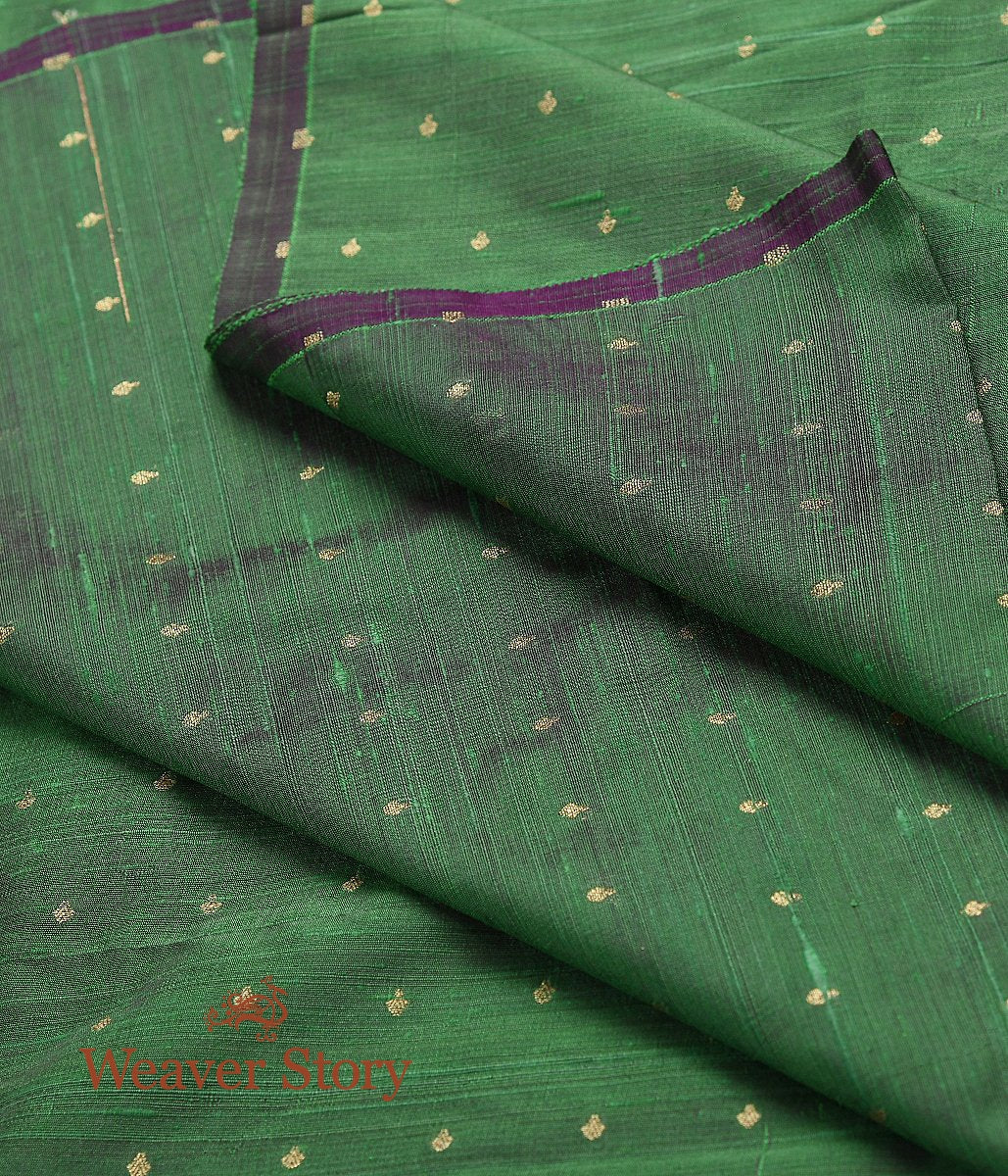 Handwoven Green Dual Tone Tusser Silk Fabric