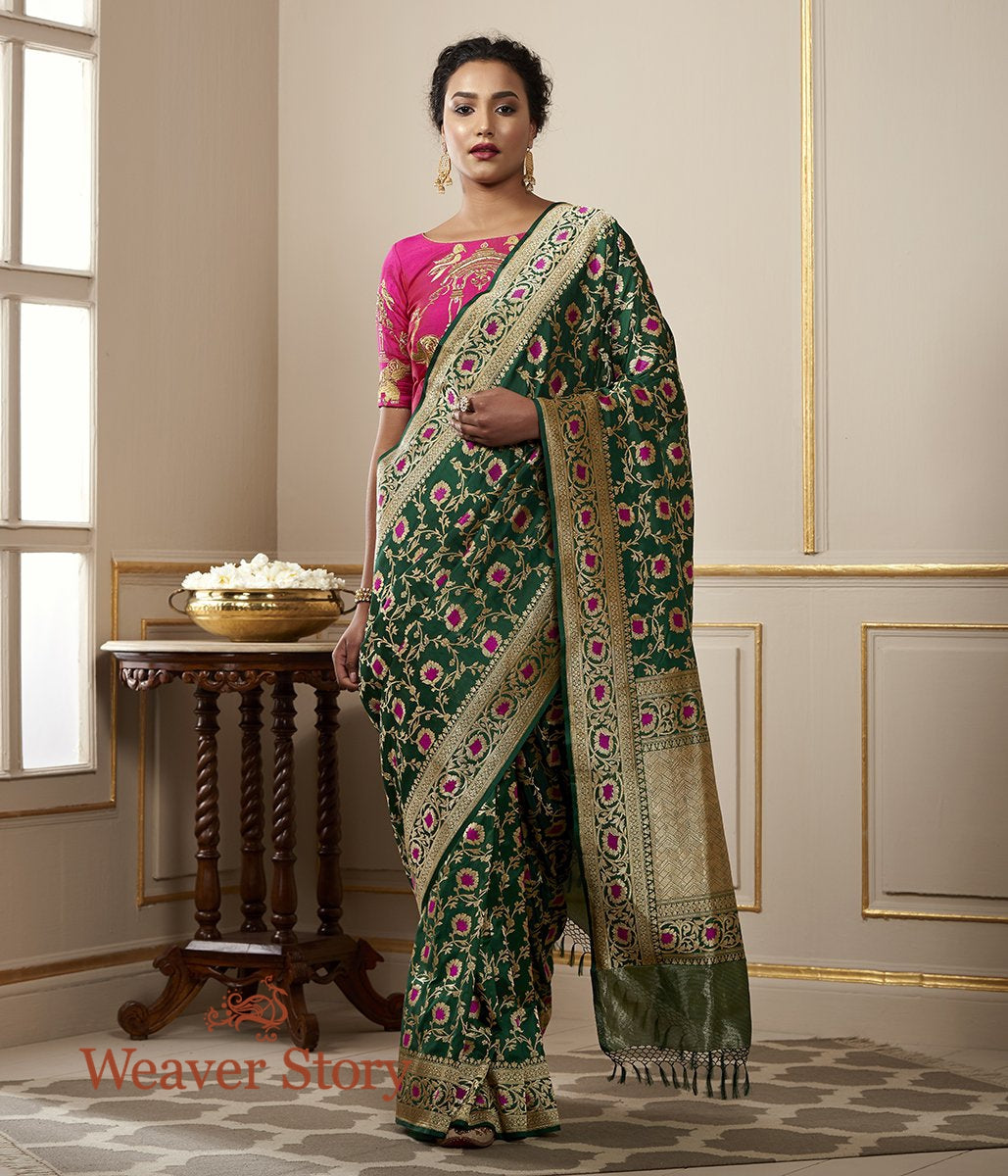 Handwoven Emerald Green Banarasi Jangla with Pink Meenakari