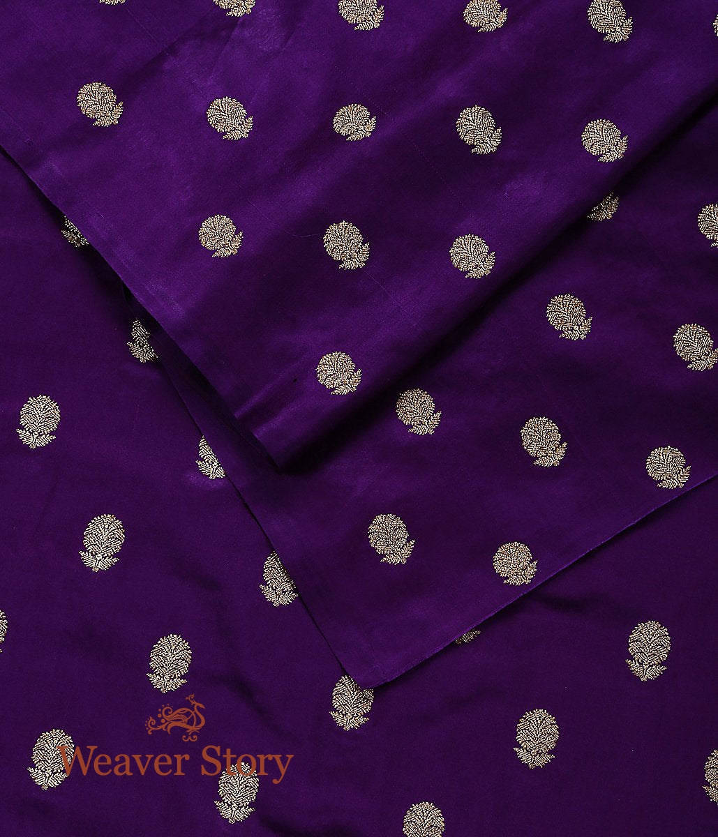 Handwoven Purple Pure Satin Fabric with Pure Gold Coated Booti