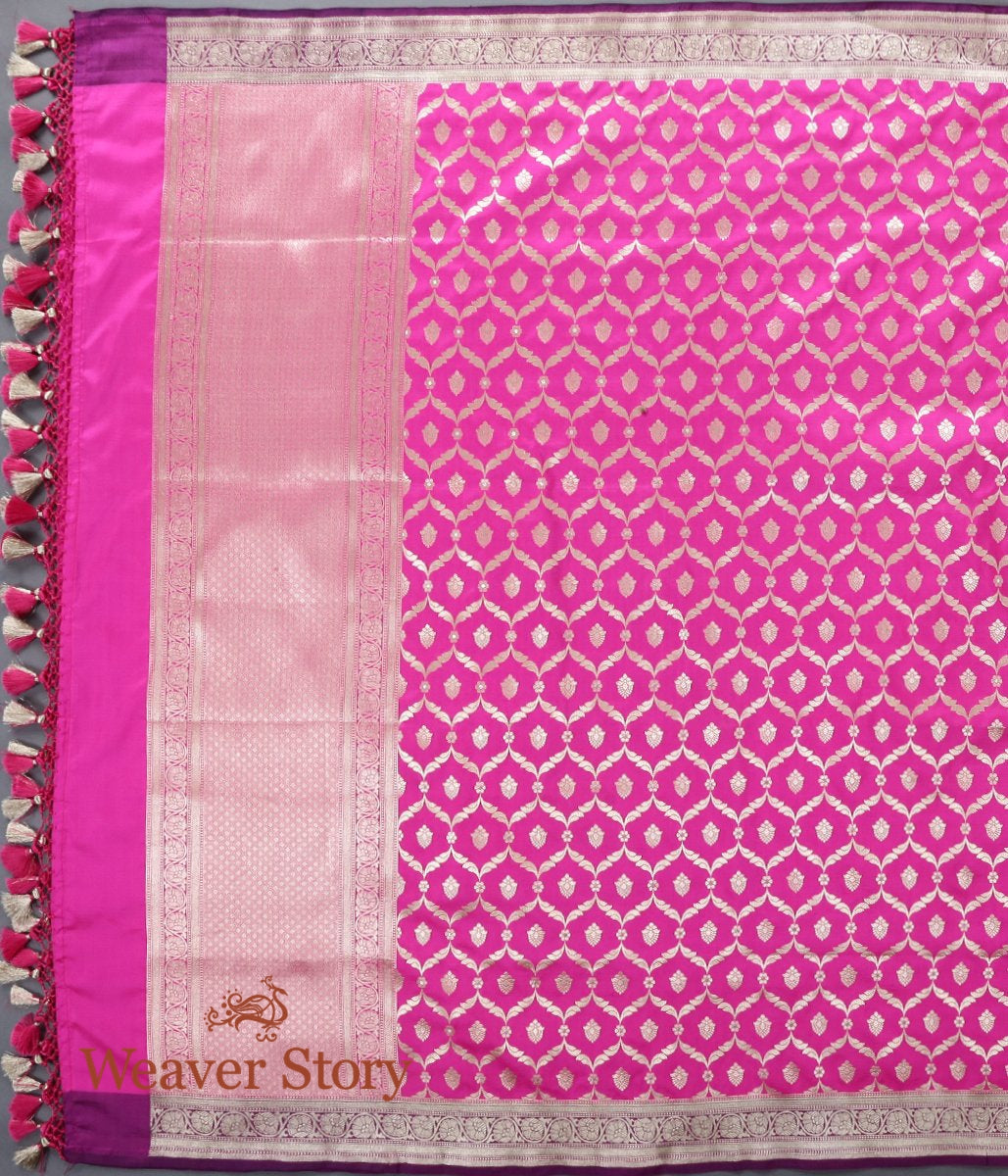 Handwoven Pink Katan Silk Jangla Dupatta with Purple Border