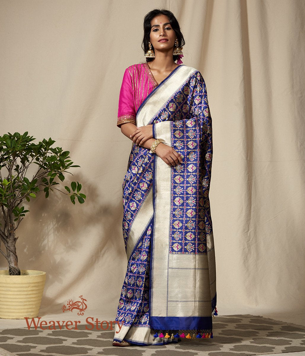 Handwoven Banarasi Patola Saree in Blue with Meenakari
