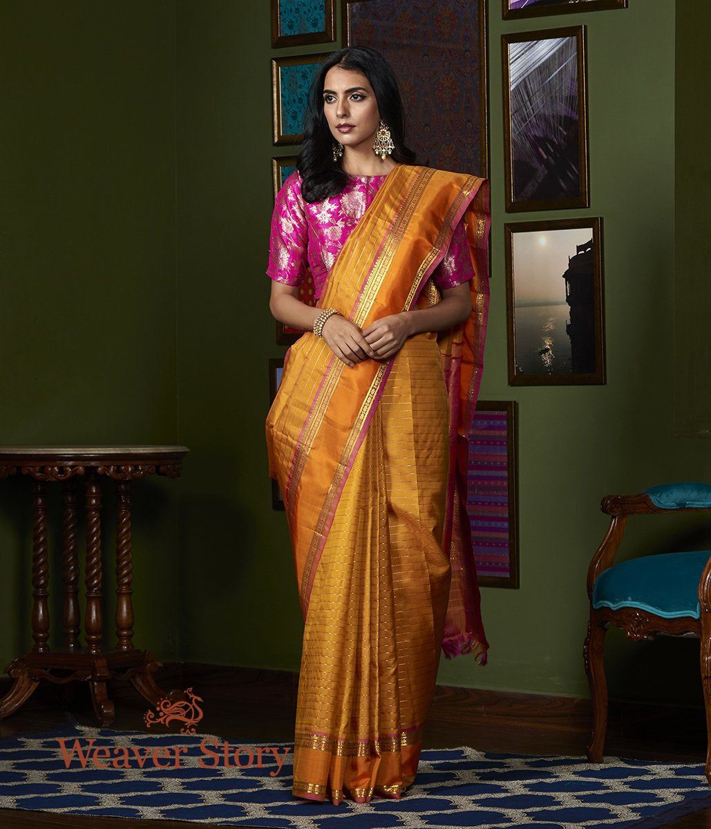 Handwoven Mustard Kanjivaram Silk Saree with Orange and Pink Border