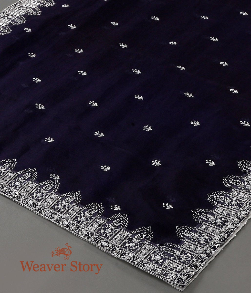 Blue Zardozi Work Organza Dupatta with Silver Embroidery Temple Border