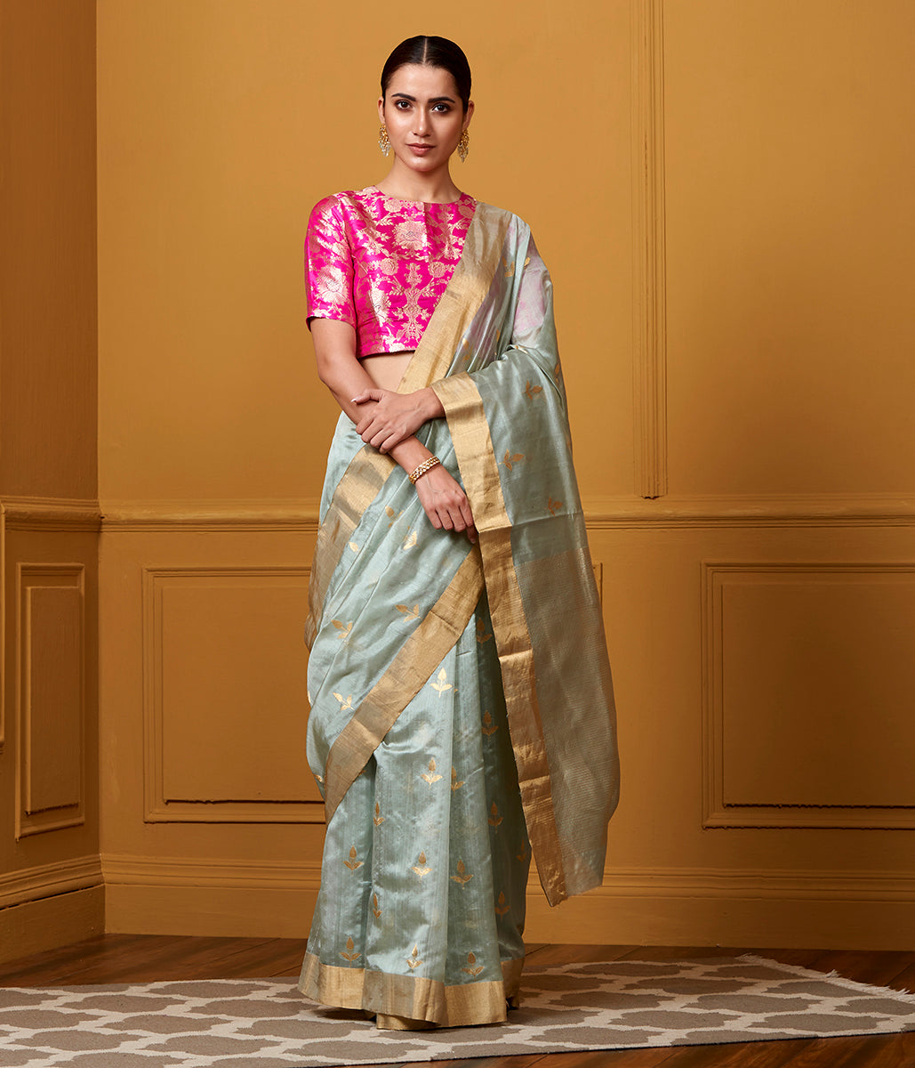 Handwoven Powder Blue Floral Motif Saree