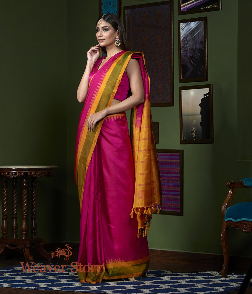 Handwoven Pink Kanjivaram Saree with Mustard Temple Border
