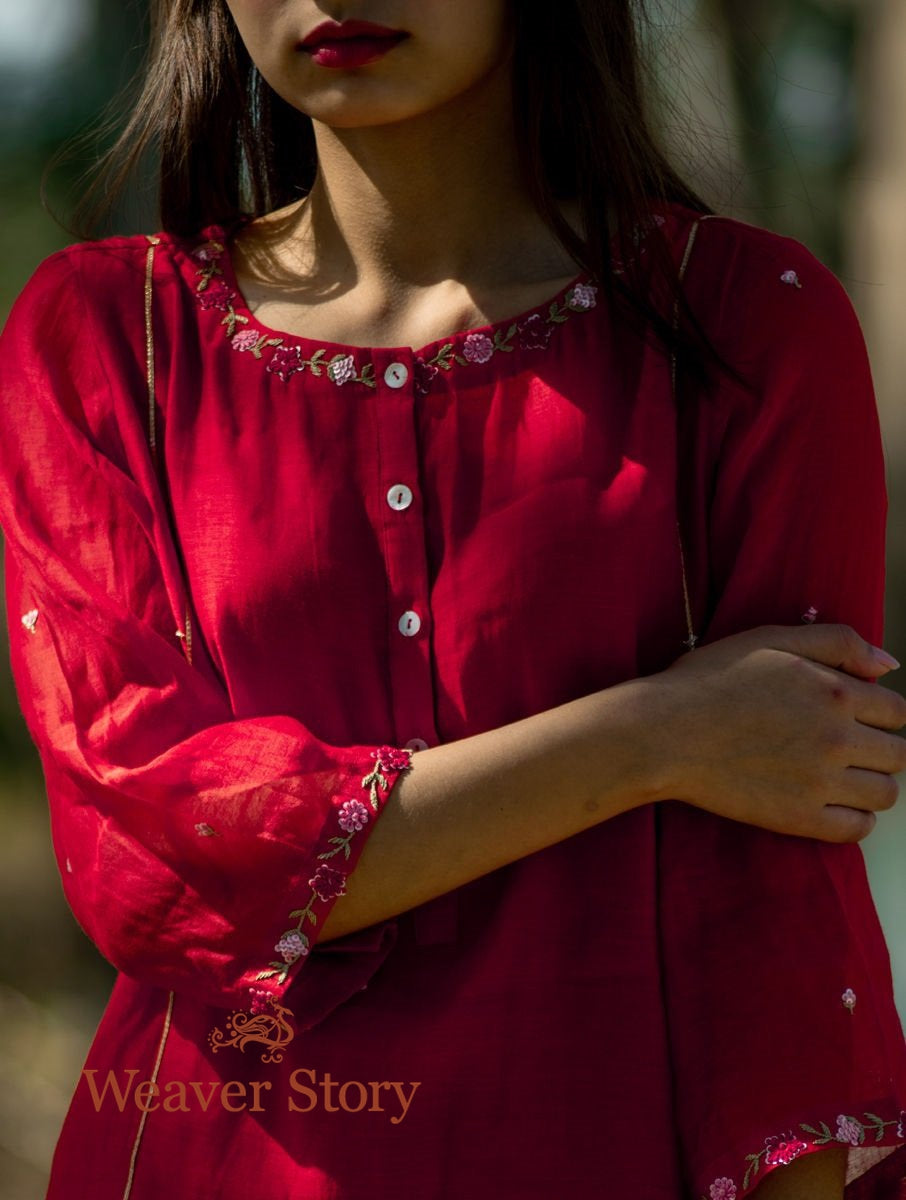 Red Handwoven Mul Chanderi Kurta with Hand Embroidery, Cotton Trousers and Dupatta