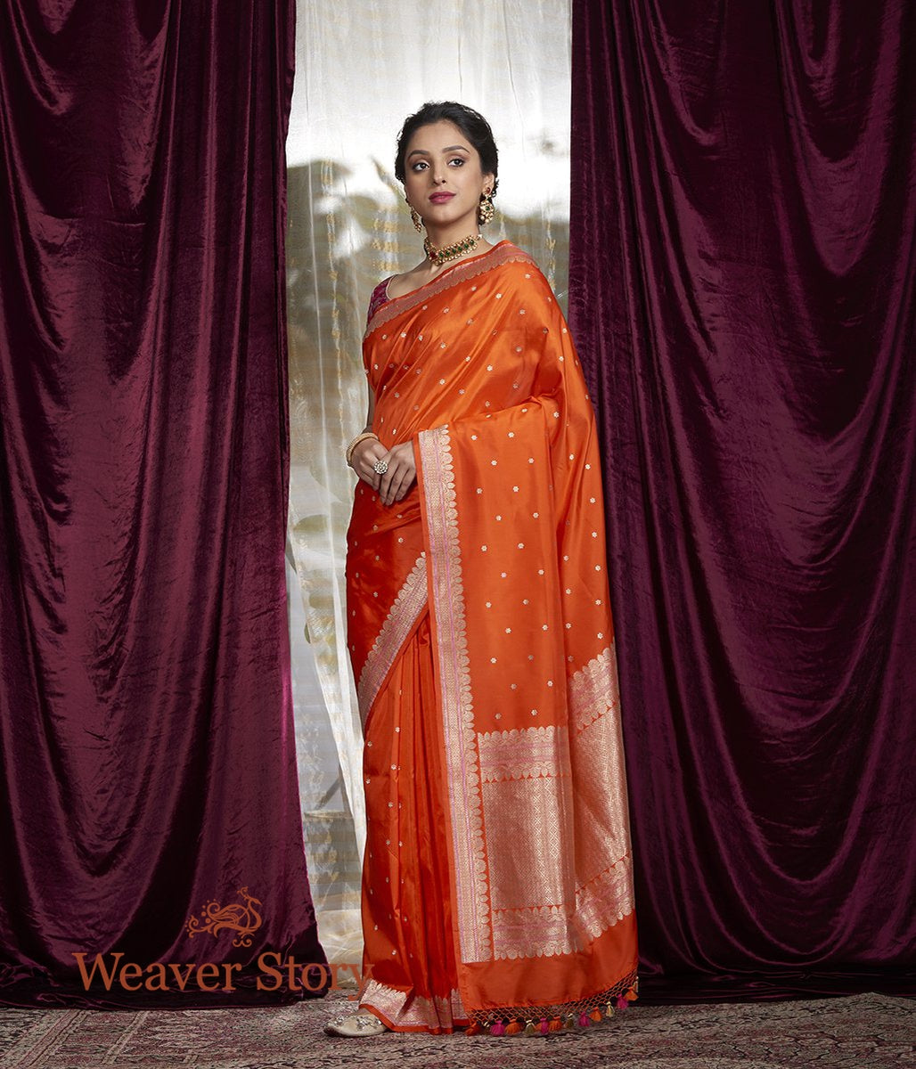 Handwoven Orange Kadhwa Boota Saree with Small Border