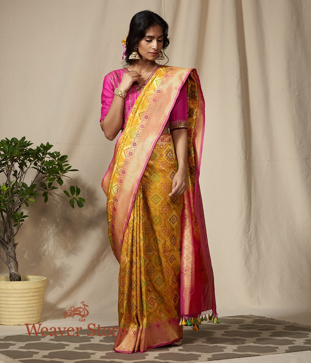 Handwoven Yellow and Pink Cutwork Banarasi Patola Saree