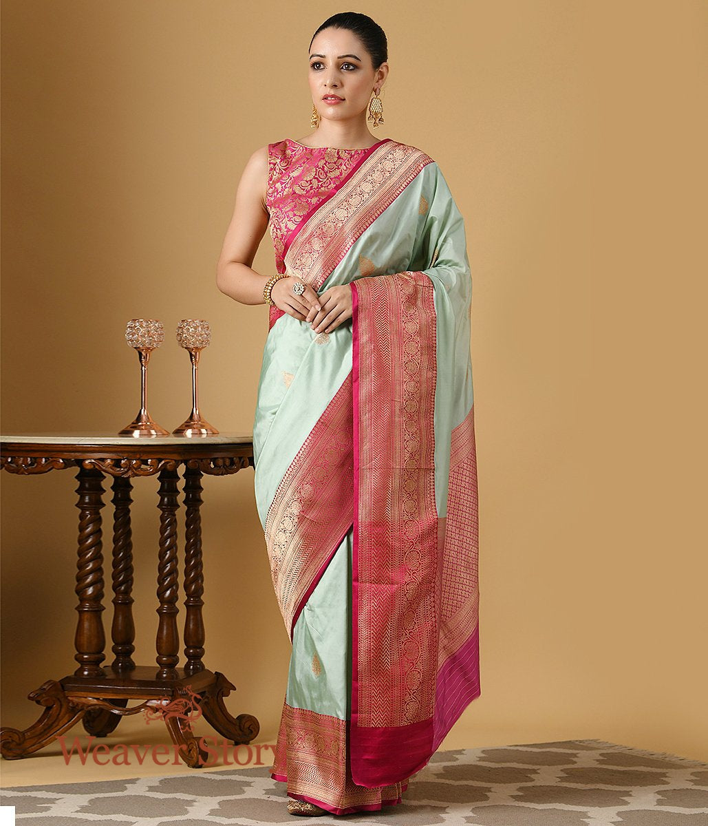 Handwoven Light Green Banarasi Saree with Pink and Gold Kadhwa Border