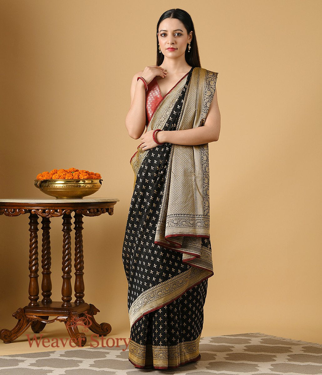 Handwoven Black Banarasi Cotton Saree with Leaf Motifsa