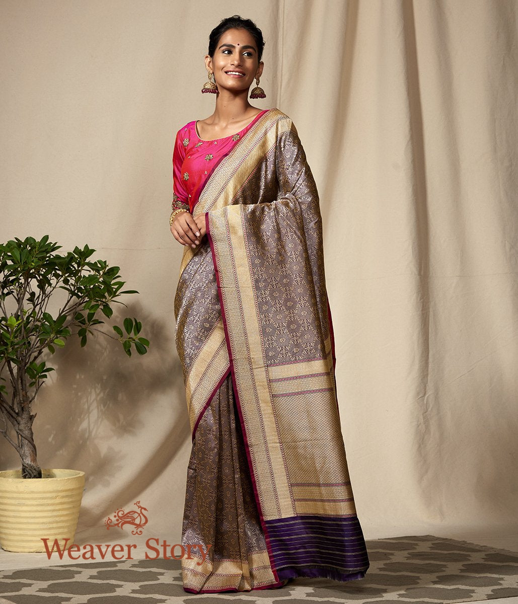 Handwoven Purple Kimkhab Banarasi Saree with Wine Selvedge