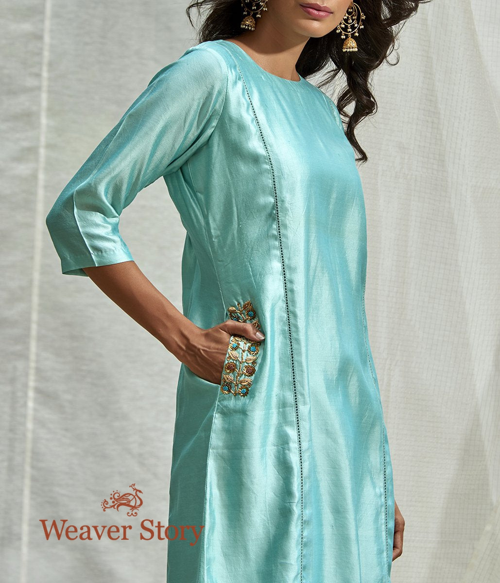 Handwoven Aqua Blue Tunic and Pants Set with Pocket Embroidery
