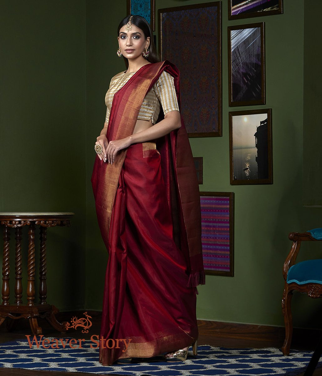 Handwoven Maroon Kanjivaram Saree with Pure Zari Border Stripes
