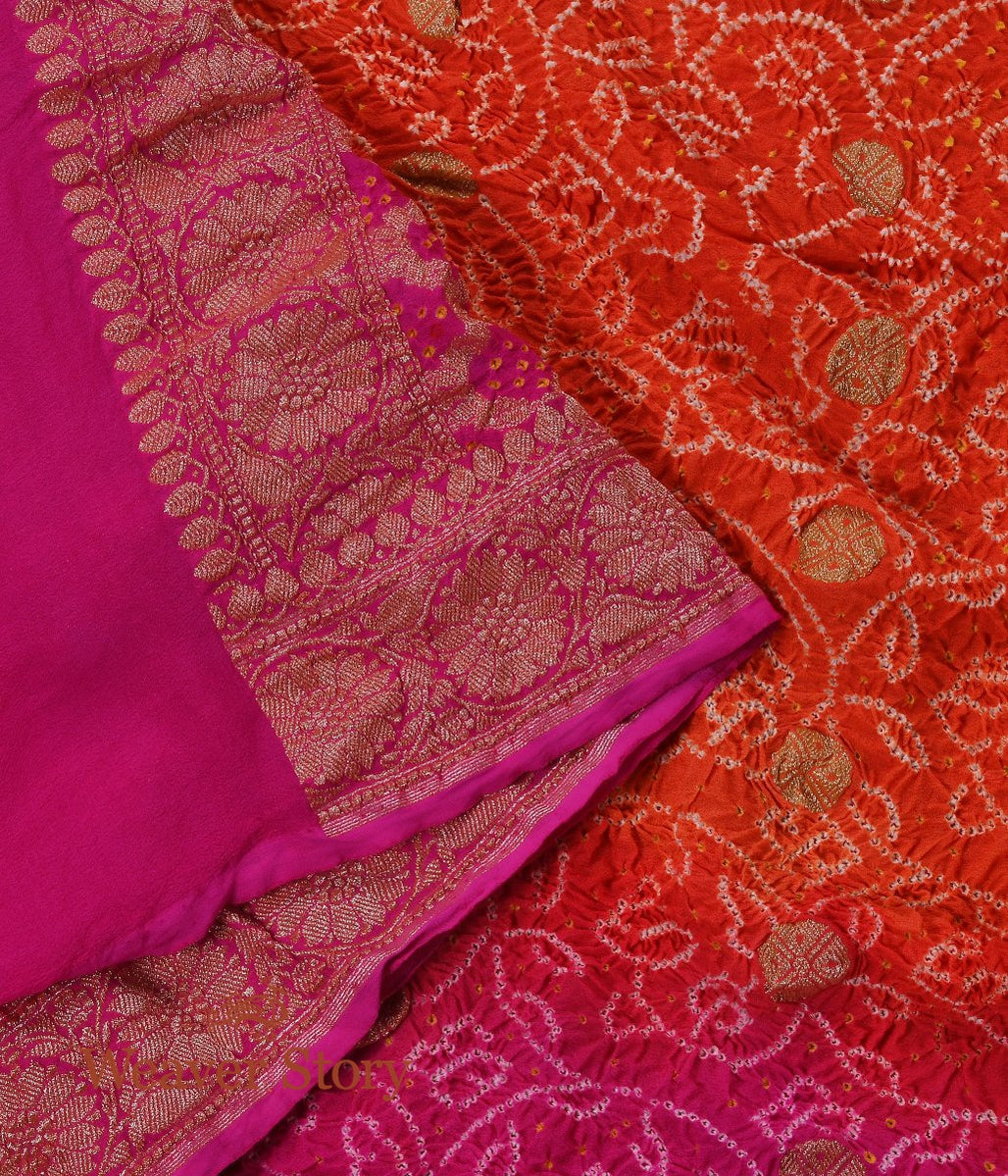 Handwoven Pink and Orange  Ombre Dyed Bandhej Dupatta