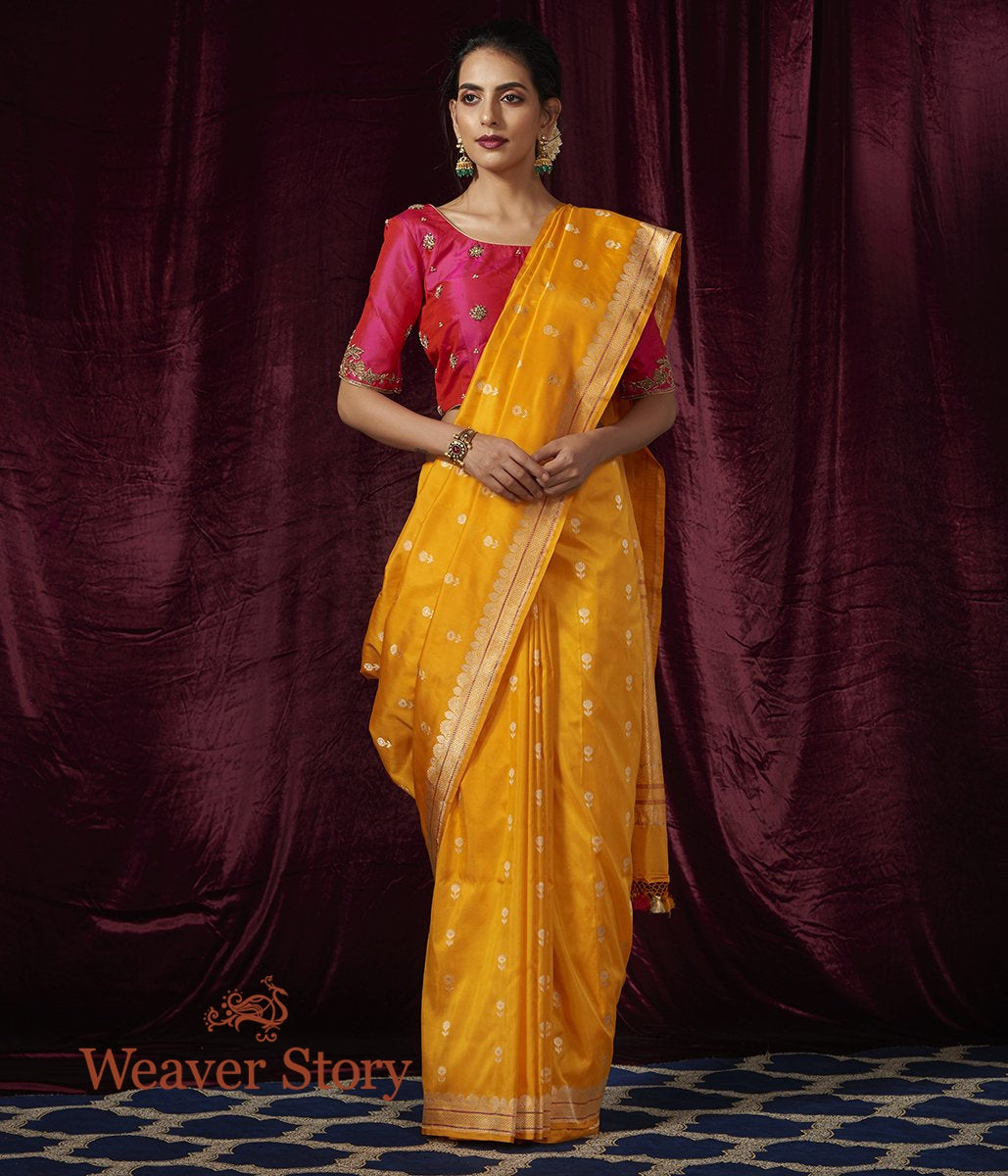 Handwoven Yellow Floral Booti Saree with Open Border