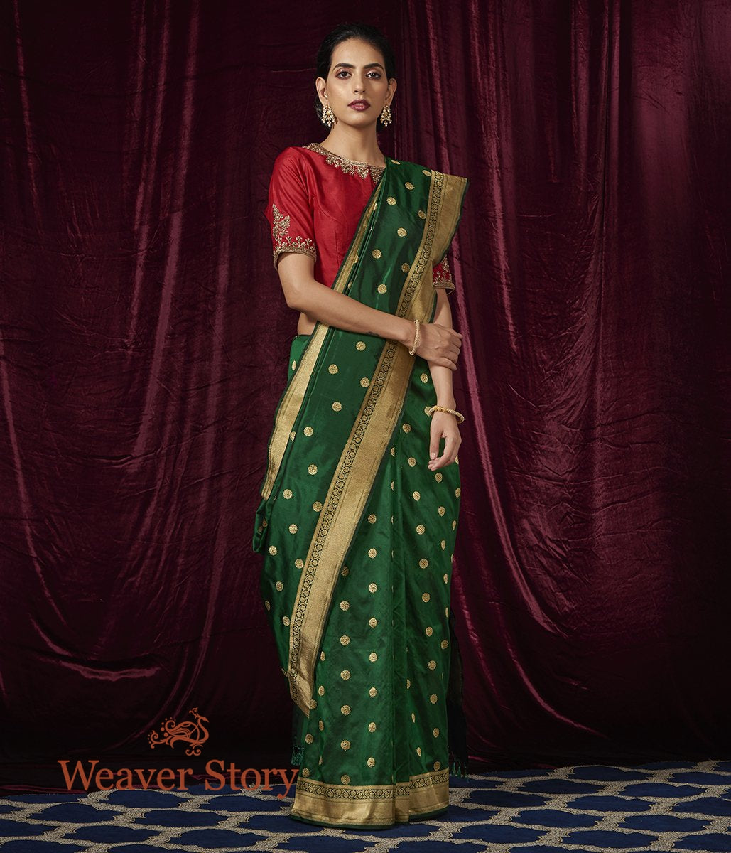 Handwoven Emerald Green Asharfi Booti Saree