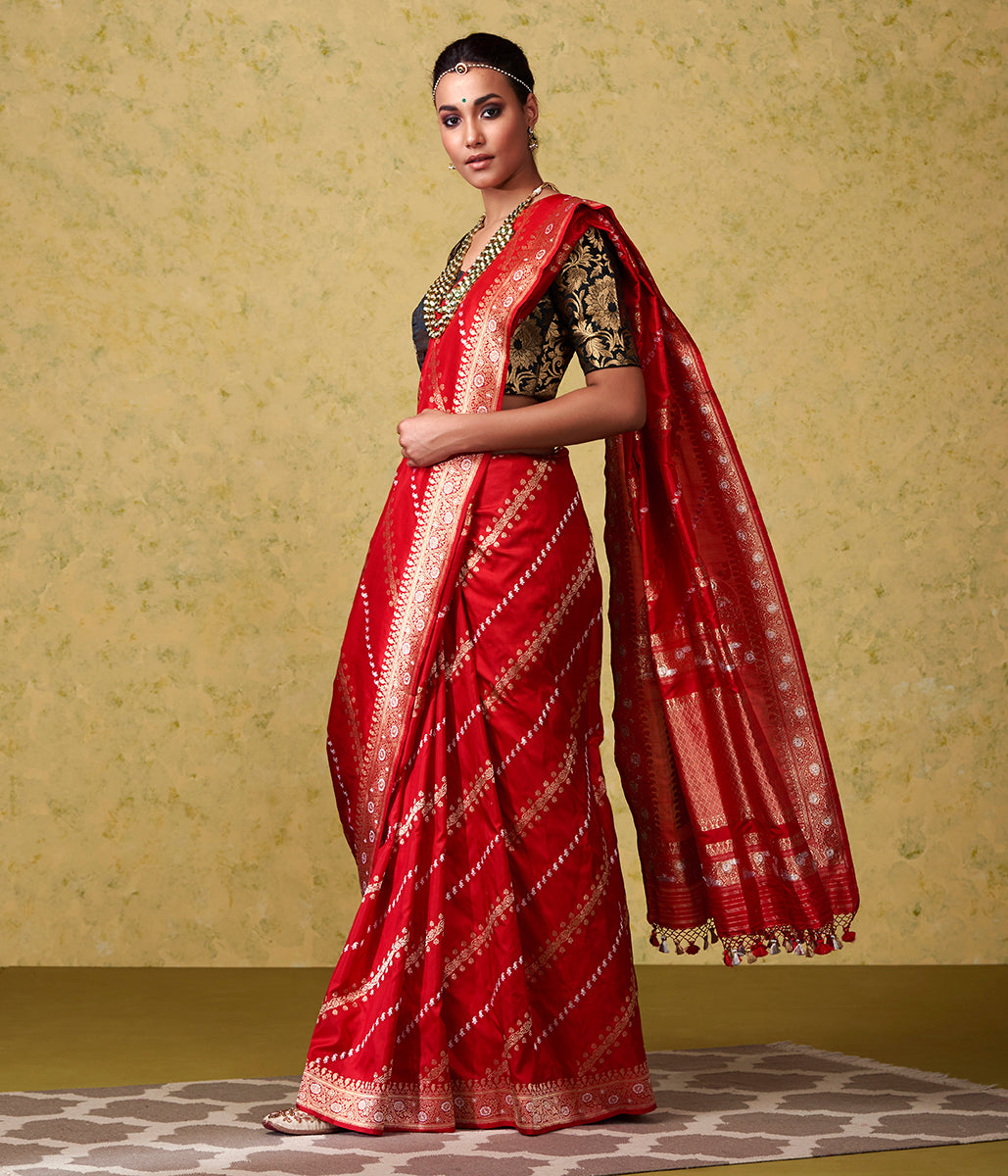 Handwoven Red Aada Jangla with Gold and Silver Zari