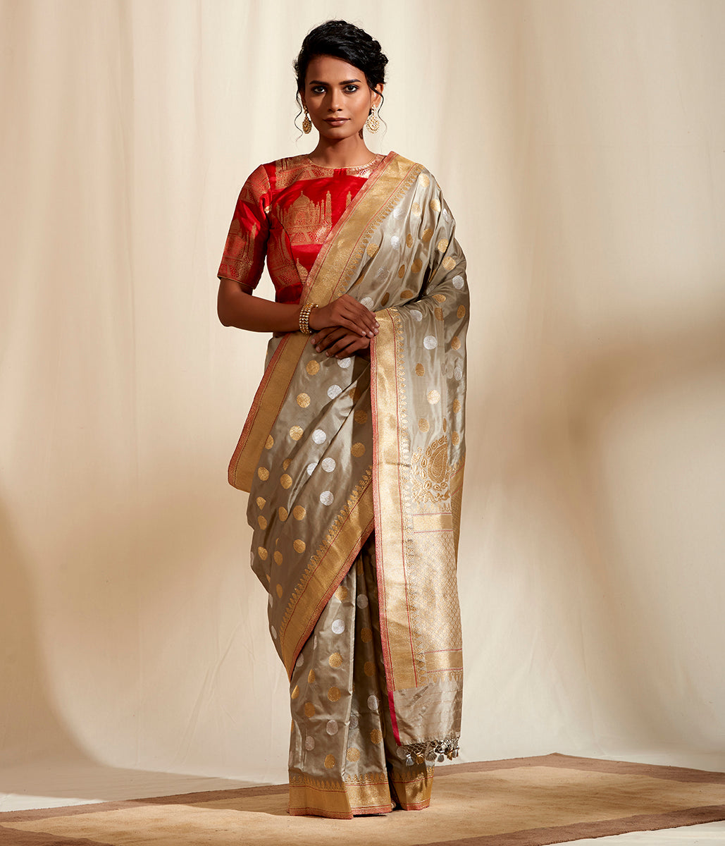 Beige and Grey dual tone Kadhwa banarasi saree with woven asharfi motifs and konia pallu