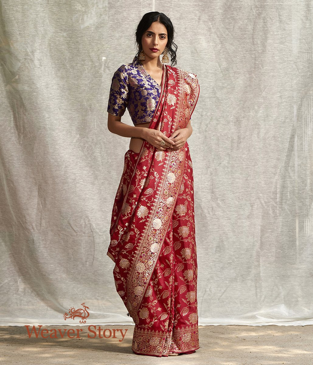 Handwoven Red Heavy Meenkari Jangla Saree with Sona Rupa Zari