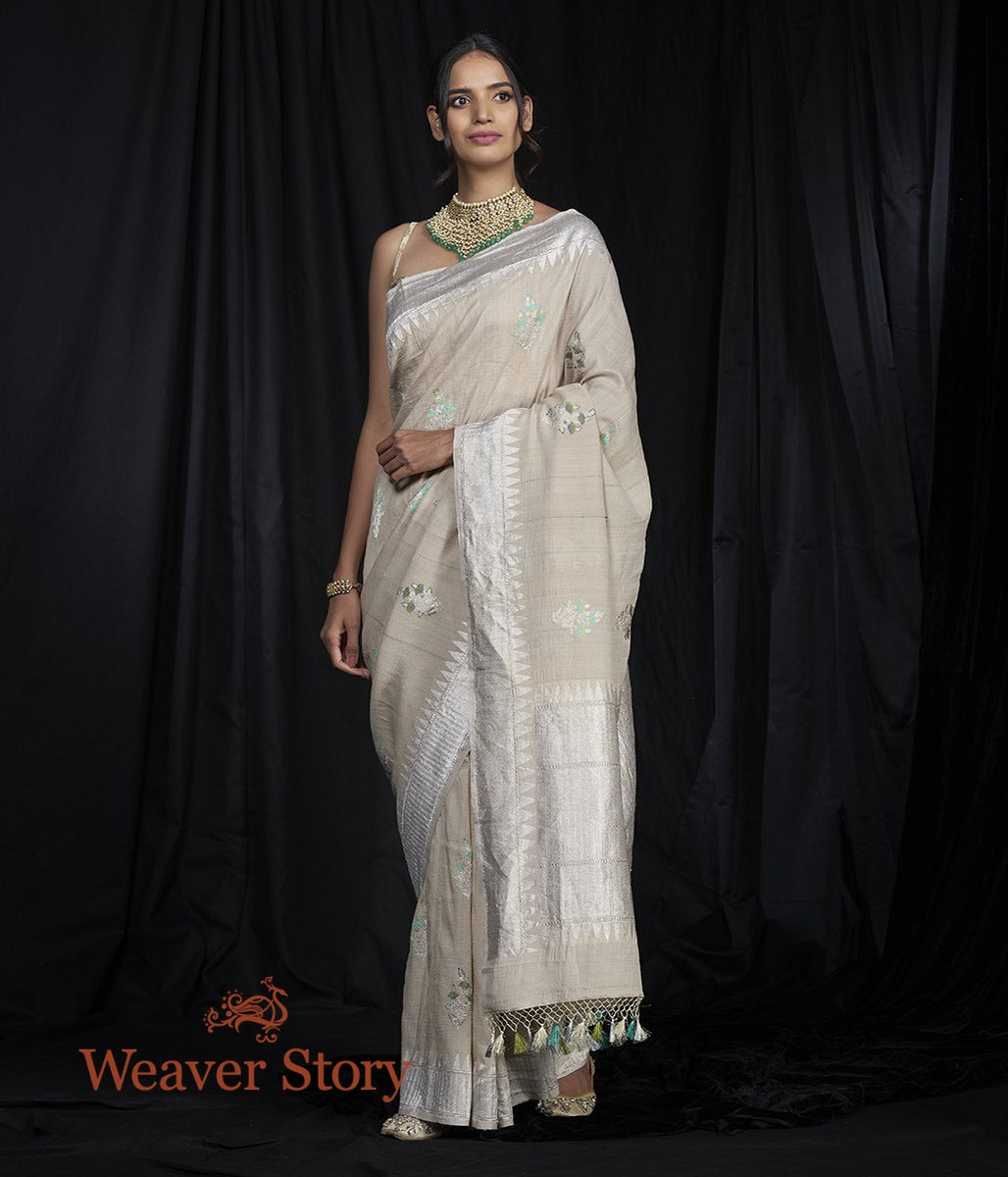 Handwoven Tusser Meenakari Booti Saree with Silver Border