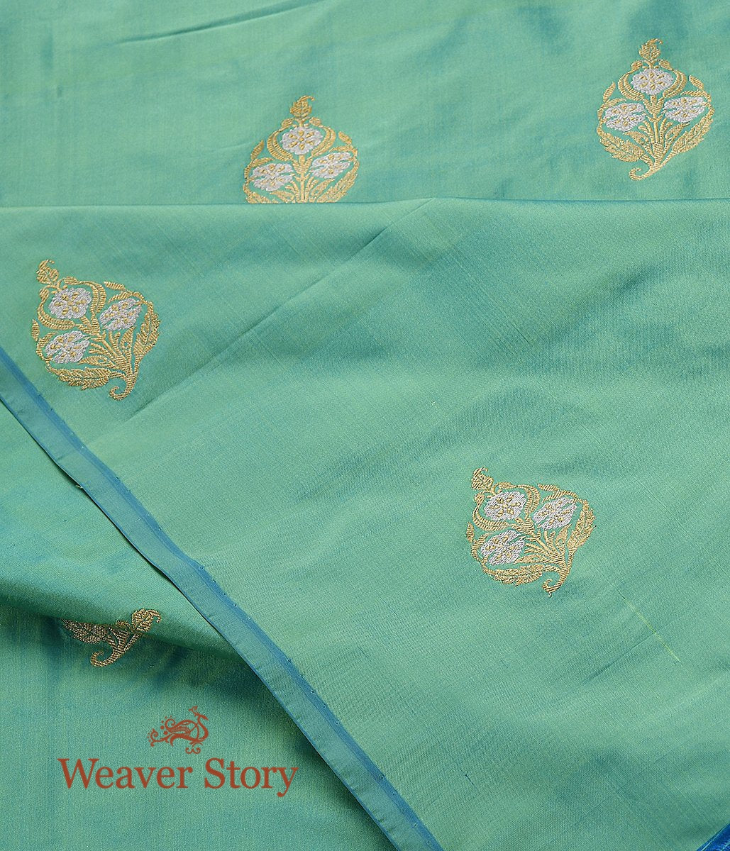 Handwoven Light Green Kadhwa Booti Fabric
