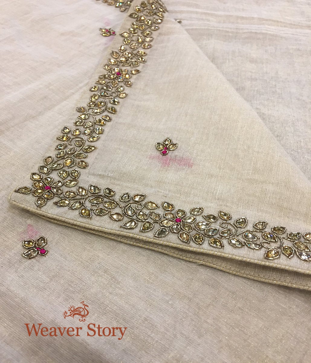 Handwoven Ivory Cotton Tissue Dupatta with Kundan and Zardozi Work
